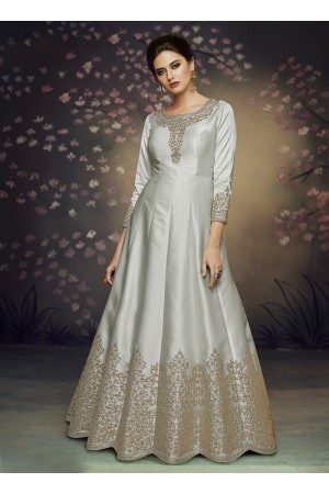 Grey satin silk gown style embroidered anarkali suit 3076