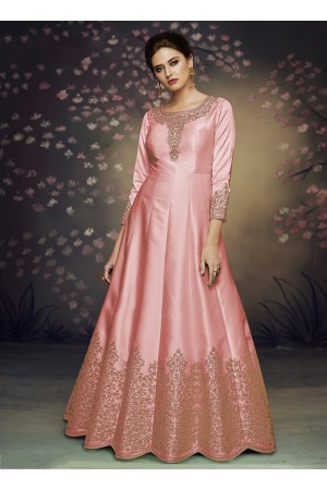 pink satin silk gown style embroidered anarkali suit 3076
