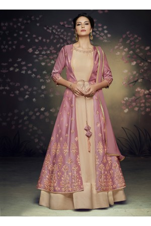 Mauve net and satin silk jacket style gown anarkali suit 3077