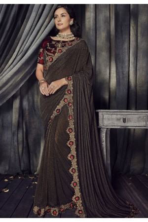 Brown and maroon Color Imported fabric designer party wear saree