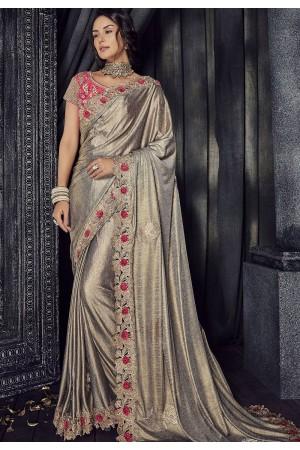 Gold Color Lycra designer party wear saree