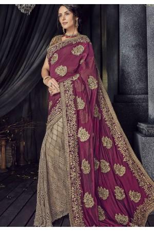 Magenta Color satin silk designer party wear saree