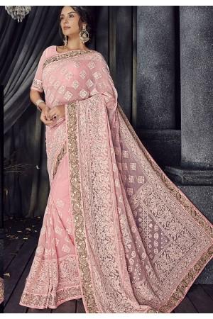 Pink bemberg Lucknowi designer party wear saree