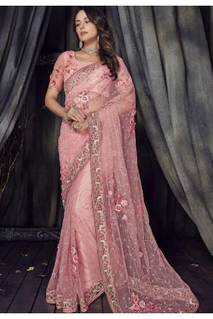 Pink Color net designer party wear saree