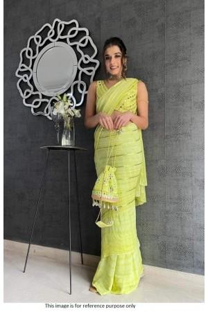 Bollywood model Lemon green double sequins saree