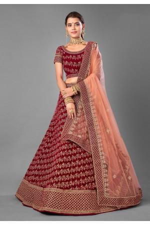 Maroon embroidered velvet bridal lehenga choli 7003