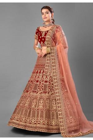 Maroon embroidered velvet bridal lehenga choli 7005