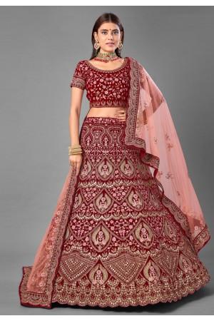 Maroon embroidered velvet bridal lehenga choli 7010