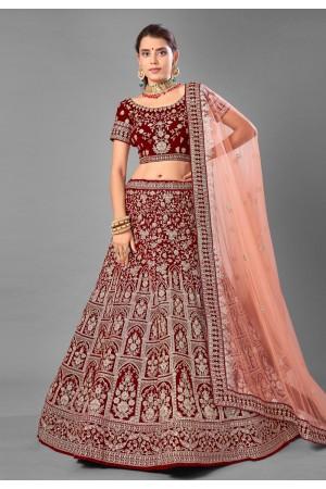 Maroon velvet embroidered bridal lehenga choli 7001