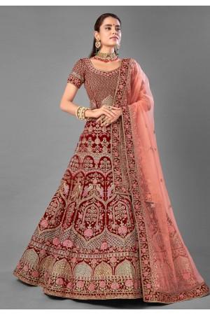 Maroon velvet embroidered bridal lehenga choli 7011
