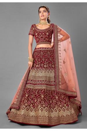 Maroon velvet embroidered wedding lehenga choli 7004