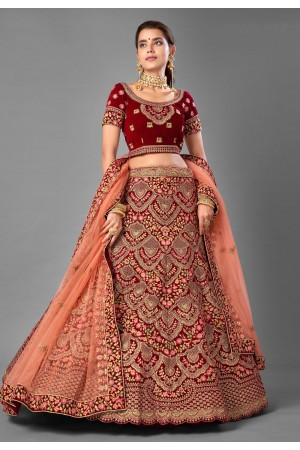 Maroon velvet wedding lehenga choli 7002