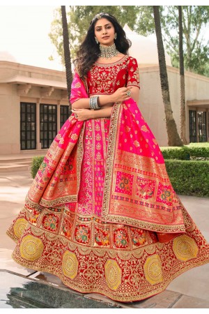 Pink banarasi silk embroidered lehenga choli 10122