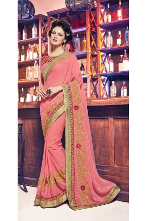 Party-wear-Peach-11-color-saree