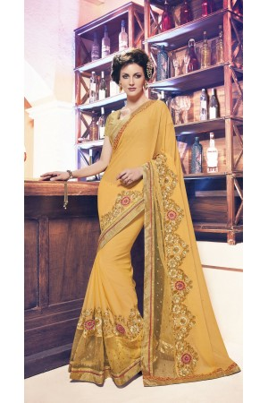 Party-wear-golden-beige-color-saree