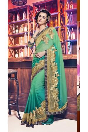 Party-wear-mild-green-color-saree