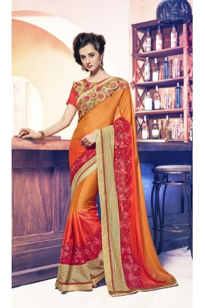 Party-wear-orange-red-11-color-saree