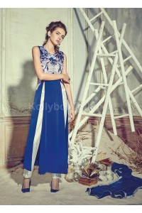 Stunning blue color crepe pant style party wear salwar kameez