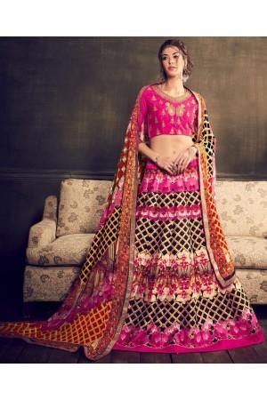 Pink color digital print party wear lehenga