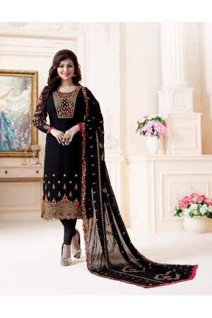 Ayesha Takia Black straight cut Indian churidar suit 32001