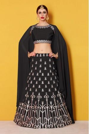Black art Silk Indian wedding wear lehenga choli 513