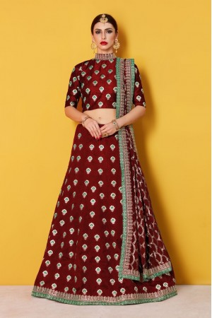 Maroon Art Silk Indian wedding wear lehenga choli 607