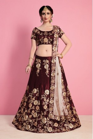 Maroon Velvet Silk Indian wedding wear lehenga choli 742