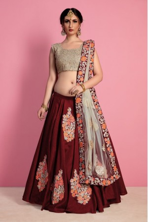 Maroon gold raw silk Indian wedding wear lehenga choli 407