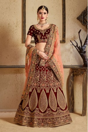 Maroon peach Silk Indian Wedding wear lehenga choli 1201