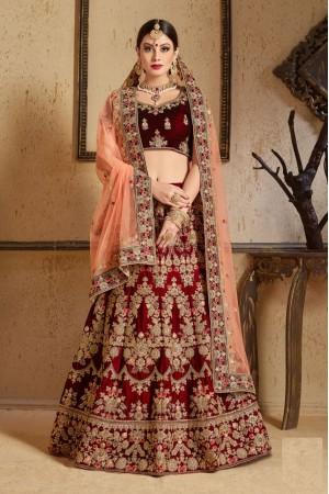 Maroon peach Silk Indian Wedding wear lehenga choli 1202