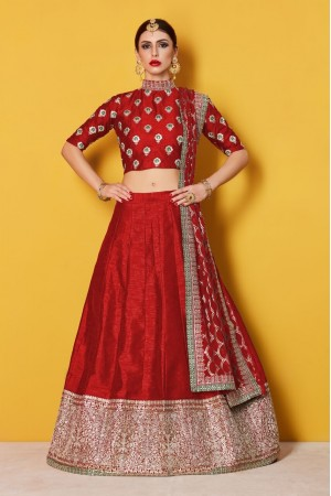 Red Art Silk Indian wedding wear lehenga choli 601