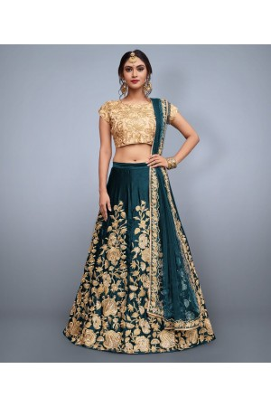 Teal Velvet Silk Indian wedding wear lehenga choli 753