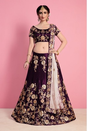 Wine Velvet Silk Indian wedding wear lehenga choli 743