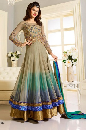 Grey shaded net and faux georgette party wear anarkali