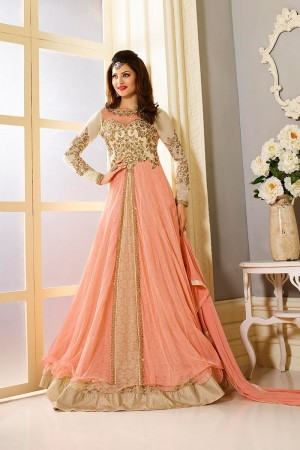 Peach color georgette and net party wear anarkali