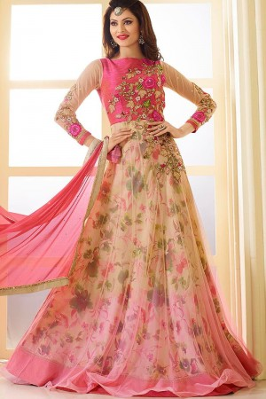 Beige and pink net and faux georgette party wear anarkali