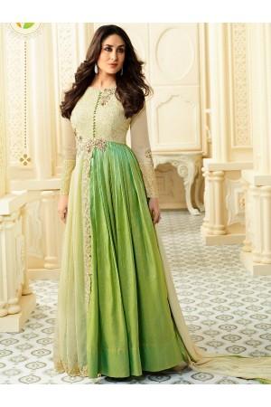 Kareena Kapoor cream and green georgette straight cut salwar kameez