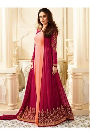 Kareena Kapoor Peach and Rani color georgette anarkali kameez