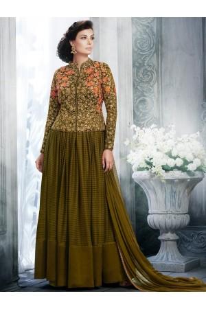 Olive green color handloom silk and net wedding wear salwar kameez