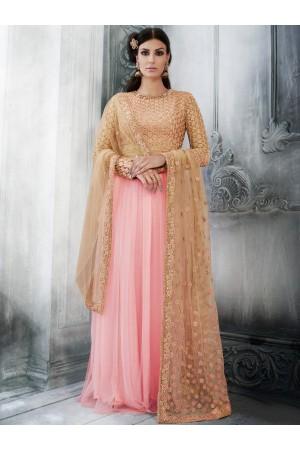 Peach color net wedding wear salwar kameez