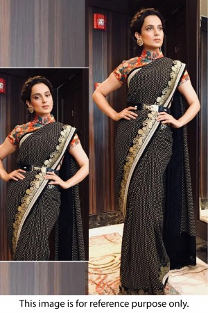Bollywood Sabyasachi Inspired Kangana Ranautt Black Georgette saree