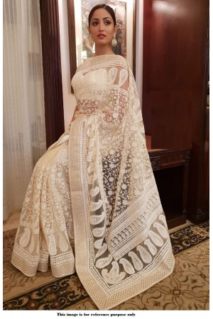 Bollywood Sabyasachi Inspired Yami Gautam net off white saree