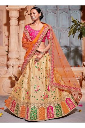 Cream and Orange Banarasi silk wedding lehenga choli