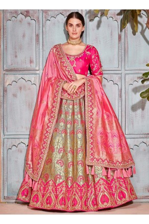 Grey and pink Banarasi silk wedding lehenga choli