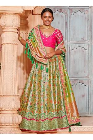 Lemon green Banarasi silk wedding lehenga choli