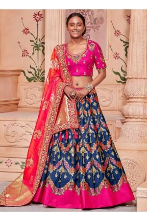 Blue and pink Banarasi silk wedding lehenga choli