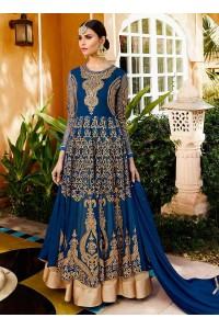 Blue georgette party wear anarkali 11006