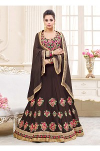 Brown georgette party wear anarkali 9111