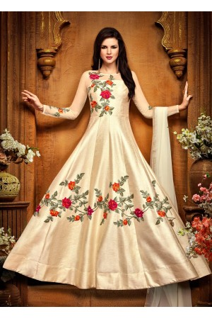 Cream silk party wear anarkali 2489