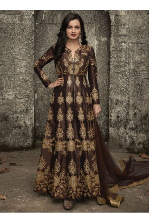 Dia mirza brown mulberry silk party wear anarkali 1004